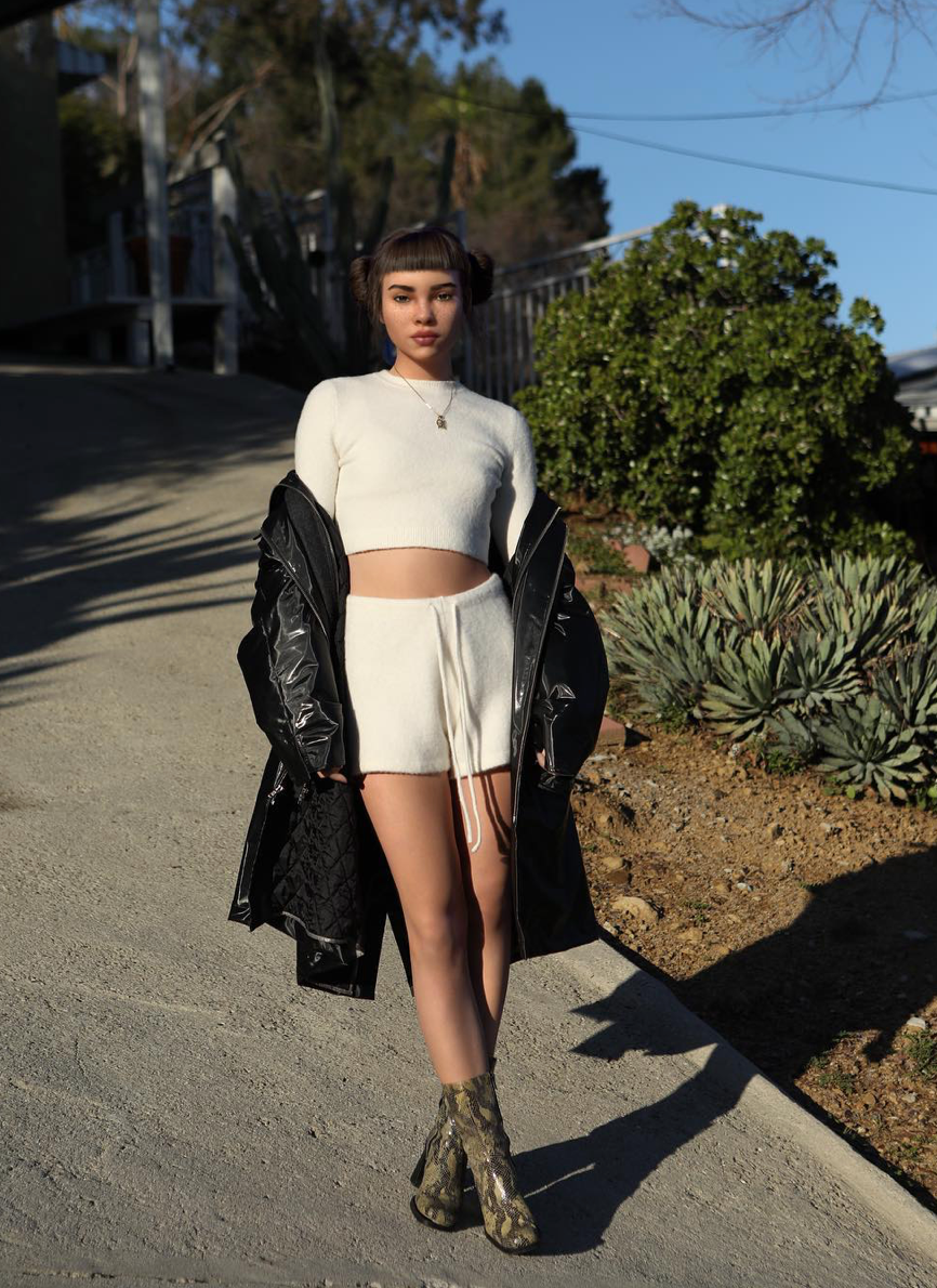 JoosTricot White Ice Cuddle Cashmere Shorts- Lil Miquela