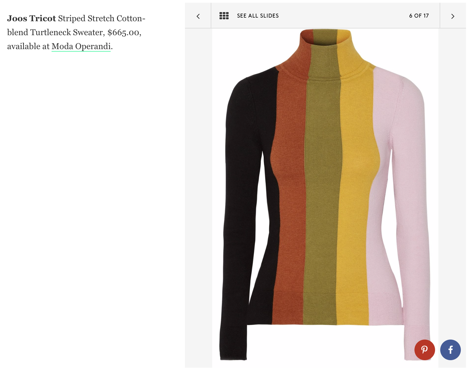 Joos Tricot Striped Stretch Cotton-blend Turtleneck Sweater, $665.00