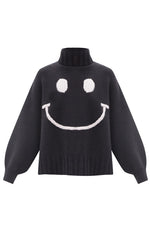 Black/Posy Smiley Turtleneck