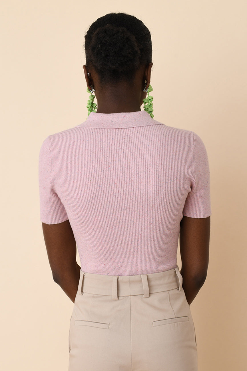 Patio Pink Ribbed Polo
