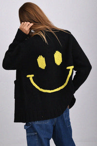 JoosTricot Black Smiley Boyfriend Cardigan