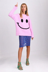 JoosTricot Wild Rose Smiley Boyfriend Crew Neck
