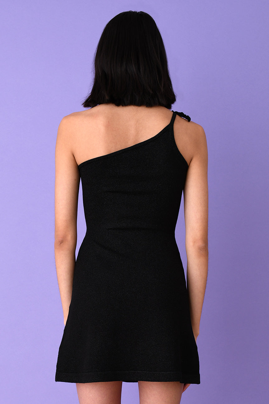 Black Lurex Asymmetric Mini Dress