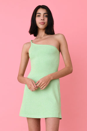 Mint Lurex Asymmetric Mini Dress