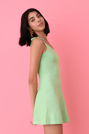 JoosTricot Mint Lurex Asymmetric Mini Dress