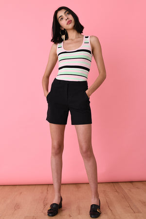 Mint Striped Sleeveless Scoop Neck
