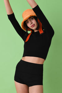 Joostricot Solid Coal Peachskin 3/4 Sleeve Crop Top