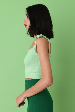 Mint Lurex Crop Camisole