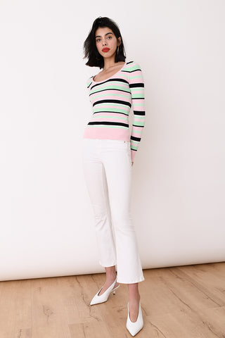 JoosTricot Mint Striped Peachskin Long Sleeve Scoop Neck