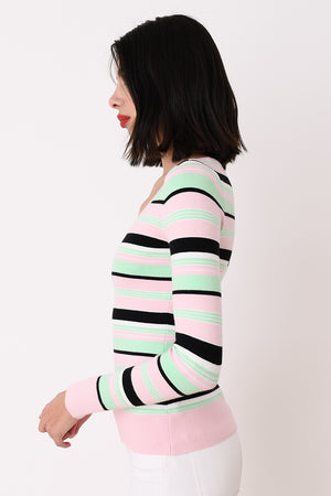 Mint Striped Peachskin Long Sleeve Scoop Neck