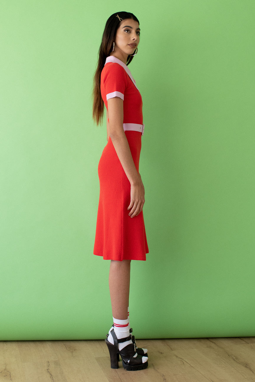 JoosTricot Two Tone Fire Poppy & Wild Rose Peachskin Midi Polo Dress