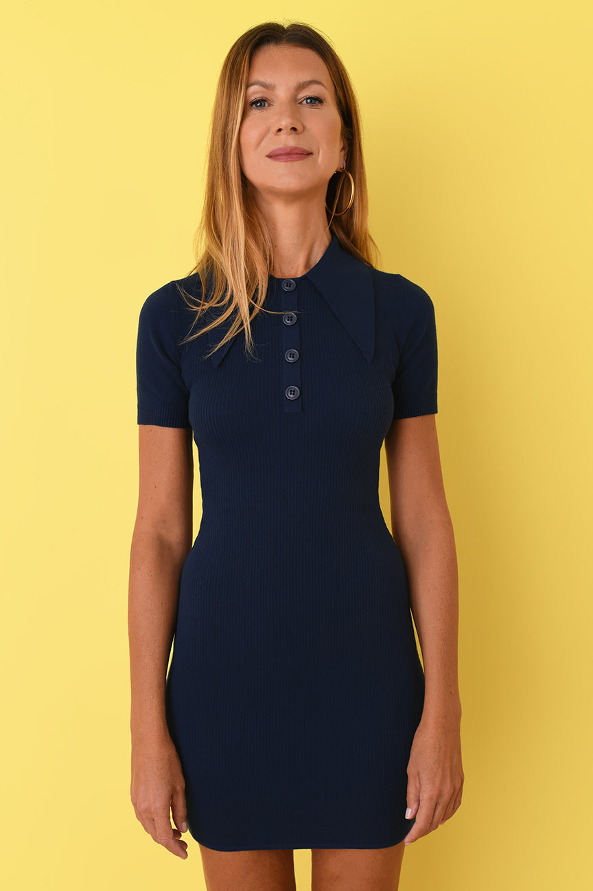 JoosTricot Solid Hello Sailor Polo Mini Dress