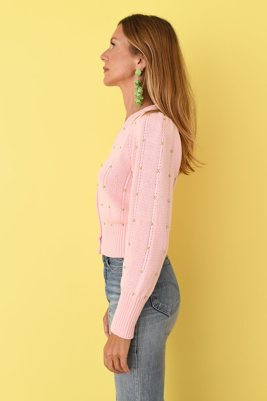 JoosTricot Pink Beaded Cotton Cardigan