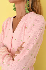 Pink Beaded Cotton Cardigan