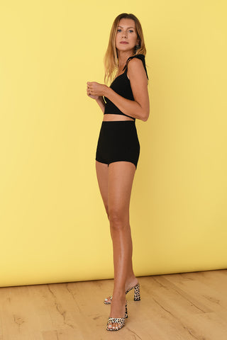 JoosTricot Black Lurex Booty Shorts