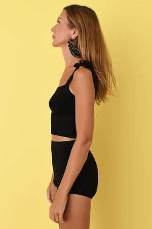 Black Lurex Crop Camisole