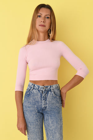 Joostricot Solid Rose Peachskin 3/4 Sleeve Crop Top