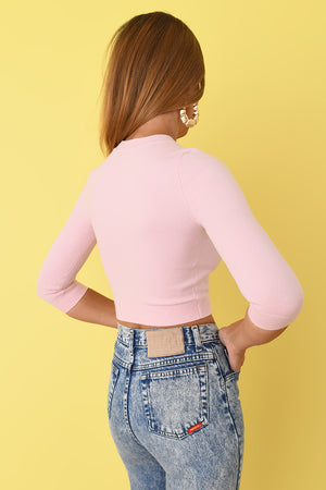 Rose Peachskin 3/4 Sleeve Crop Top