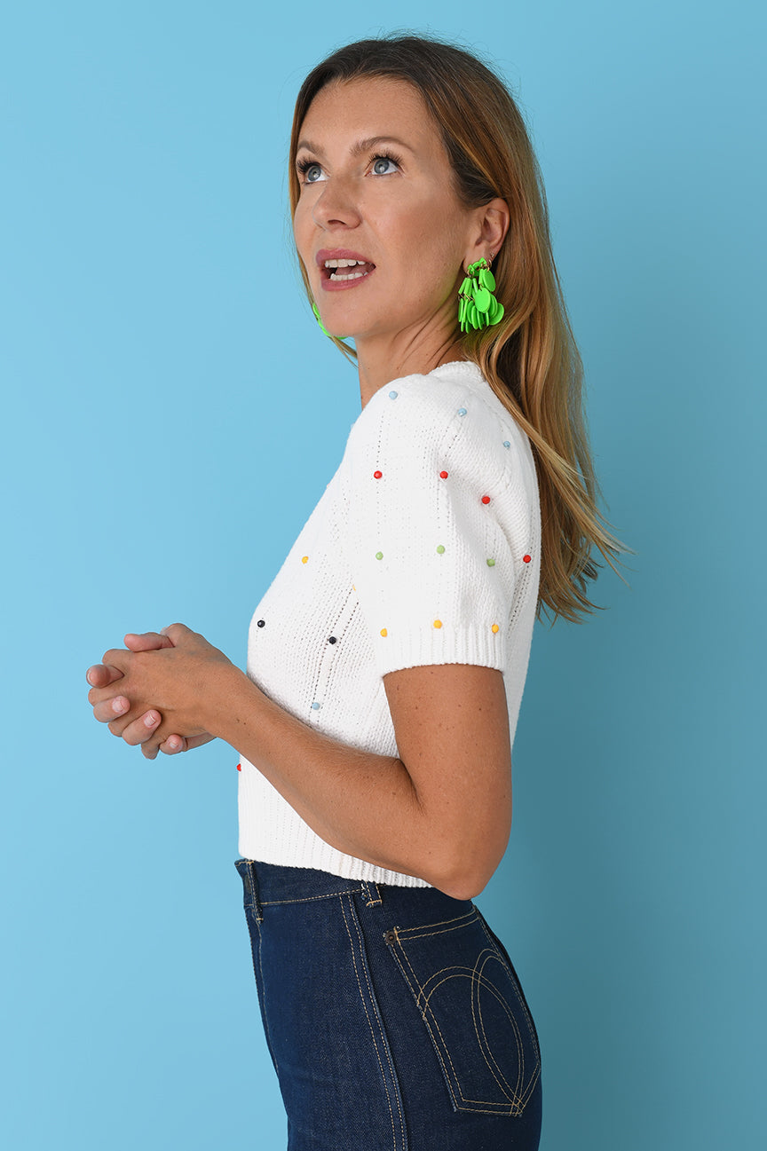 Tutti Frutti Beaded Cotton Crop Crew