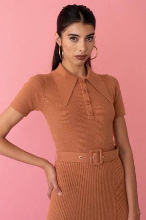 JoosTricot Solid Cinnamon Peachskin Midi Polo Dress