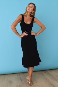 JoosTricot Solid Black Peachskin Sleeveless Midi Polo Dress