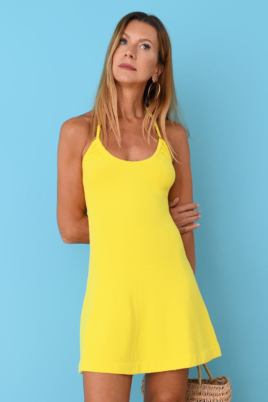 JoosTricot Yellow Terry Mini Dress