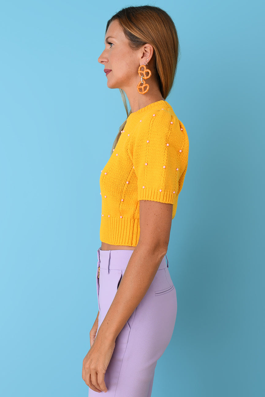 JoosTricot Yellow Beaded Cotton Crop Crew