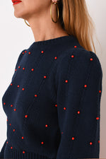 JoosTricot Navy Beaded Cotton Long Sleeve Crew