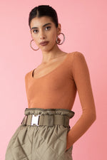 JoosTricot Solid Cinnamon Peachskin Scoop Neck