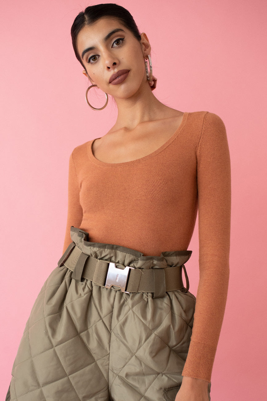 Cinnamon Peachskin Scoop Neck