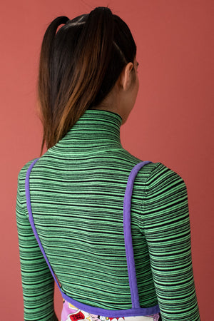 JoosTricot Mini-stripe Tree Frog & Coal Turtleneck