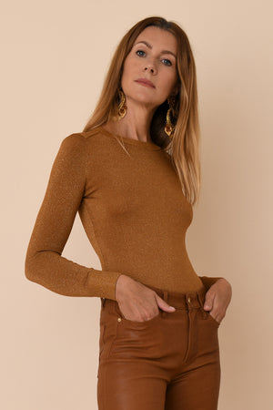 Bronze Lurex Crew Neck