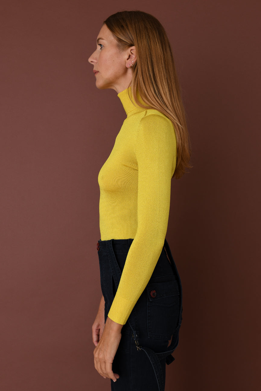 Bright Yellow Lurex Turtleneck