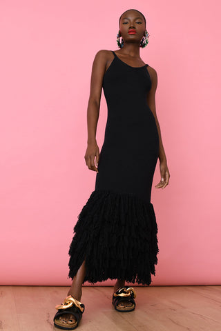 Black Linen Fringe Maxi Dress