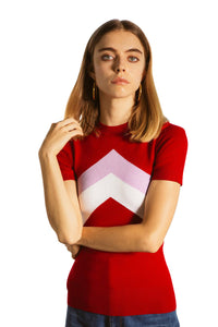 Cochineal Chevron Crew Neck T