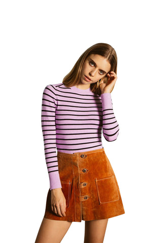 JoosTricot Striped Lavender/Black Crew Neck