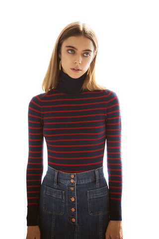 JoosTricot Striped Navy/Red Peachskin Turtleneck
