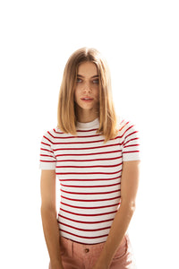 JoosTricot Striped Laser White/Cochineal  Crew Neck T