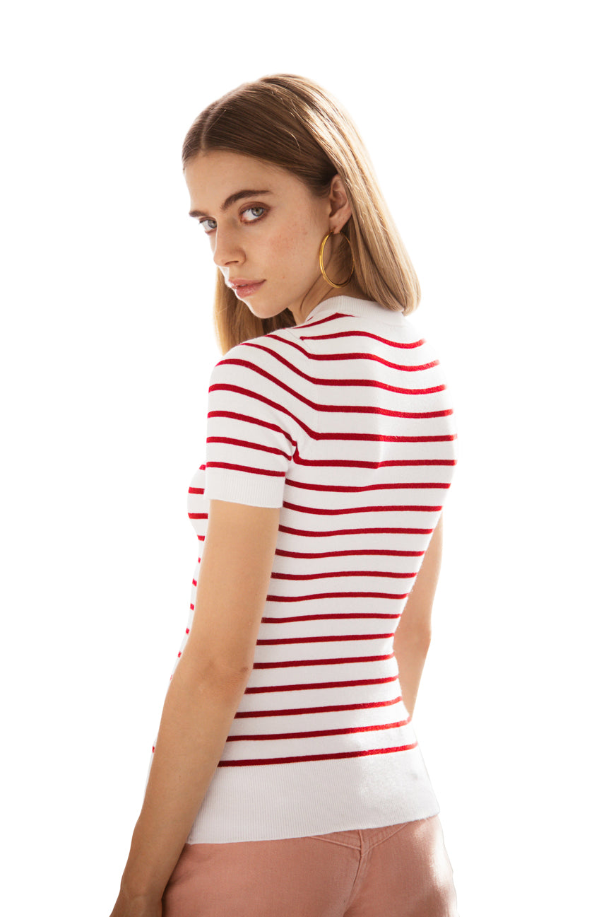 Striped Laser White/Cochineal  Crew Neck T
