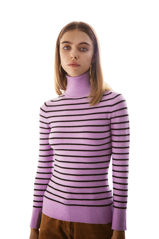 JoosTricot Striped Lavender/Black Turtleneck