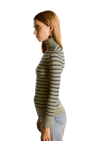 JoosTricot Striped Green/Navy Turtleneck