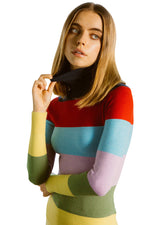 JoosTricot Rainbow Stripe Peachskin Turtleneck