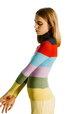 Rainbow Stripe Turtleneck
