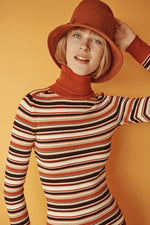 JoosTricot Striped Tikka & Gold Turtleneck