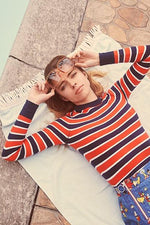 JoosTricot Long Sleeve Marine Striped Crew Neck