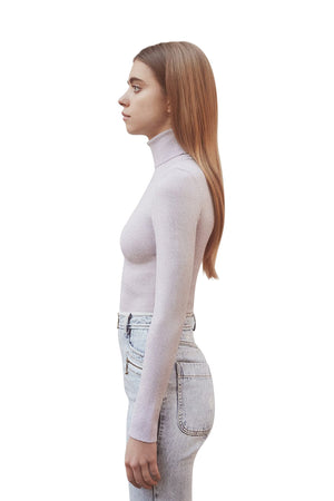 Mauve Lurex Turtleneck