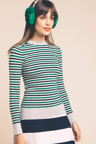 Striped Green & Grey Crew Neck