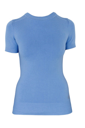 JoosTricot Solid Summer Blue Peachskin Crew Neck T