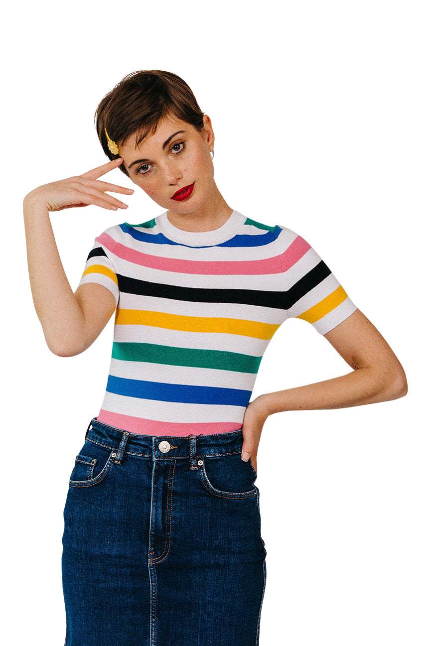 JoosTricot White & Multi-Stripe Peachskin Crew Neck T