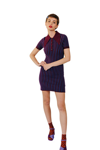 JoosTricot Pinstripe Pinot Noir/Cosmos Polo Mini Dress
